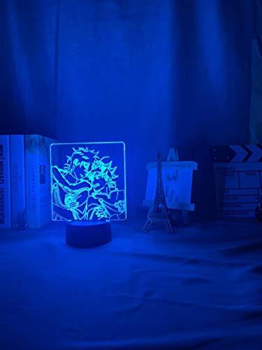 Lámpara De Ilusión 3D Luz De Noche LED Acrílico Anime Trébol negro Asta Decoración de dormitorio Mesa de trébol negro colorido Yuno Grinbellor