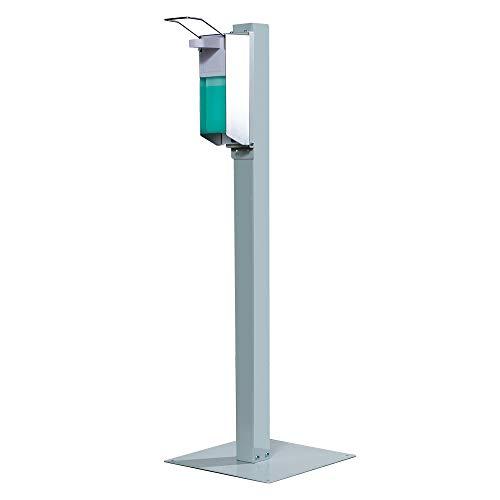 KRIEG Desinfektionsspender Hygienestation Desinfektionsmittelspender mit Standfuß, Desinfektionsmittel, mobil und fahrbar, Ready to go