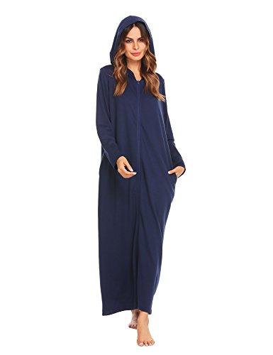 Ekouaer Women's Long Robes Zip Front Robe 3X Hooded Bathrobe,Purplish Blue Navy,Medium