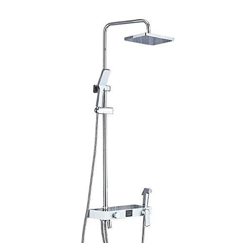 GUOSHUCHE Mezclador de baño Ducha, Duchas de montaje en pared, sistema de ducha con lluvia y ducha de mano, juego de ducha mezclador de baño cromado