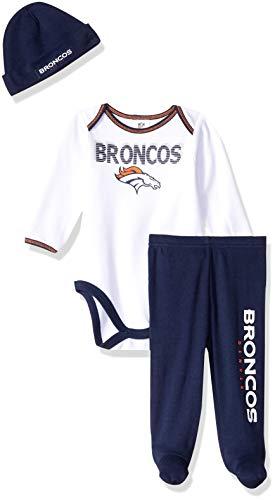 NFL Denver Broncos Unisex-Baby Bodysuit, Pant, & Cap Set, Blue, 6-9 Months