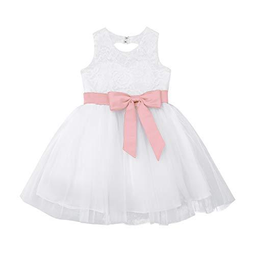 FEESHOW Baby Mädchen Kleider Spitzen Prinzessin Blumen Tüll Hochzeits Kleider Taufkleid Sommer Weiß Größe 62-98 Pearl Pink A 68-74/6-9 Monate