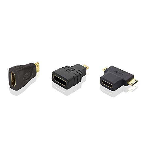 ADWITS Juego de adaptadores de conector de cable HDMI, [3 paquetes] HDMI A Hembra a Micro HDMI Macho Mini HDMI Macho Conjunto, soporta 1080P 60Hz GoPro Hero 6/5, tableta Nexus 10, Raspberry Pi - Negro