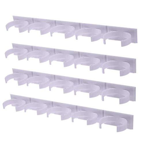 MLJ Juego de Ganchos de Clip de Frascos de Especias Blancas de Plástico de 4 Piezas, Organizador de Puerta de Gabinete, Soporte para 20 Frascos (Color : 4pcs)