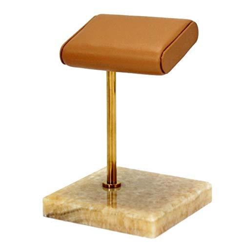Cobeky Estante de almacenamiento de reloj de mármol natural, base de cuero, soporte de metal dorado, soporte de barra de exhibición, accesorios para exhibición de joyas
