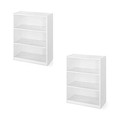 """Mainstay` Orion Wide 3-Shelf Bookcase (White Color, 2 Pack 3-Shelf 31"""")"""