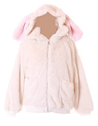 Chaqueta con capucha TS-232 de color blanco con orejas de conejo, conejo, color pastel, gótico, Kawaii