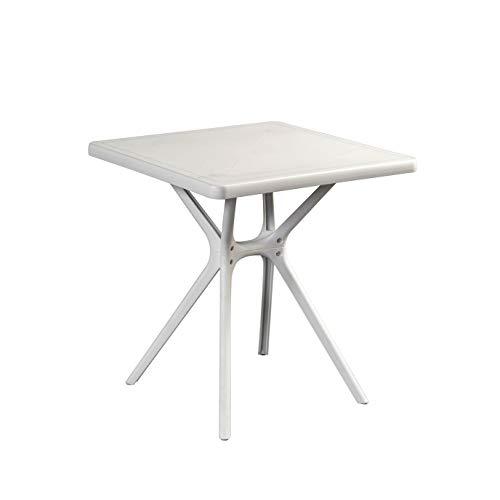InHouse srls Table carrée Hugo de jardin, en résine, couleur blanc, dimensions 70 x 70 x 74 cm