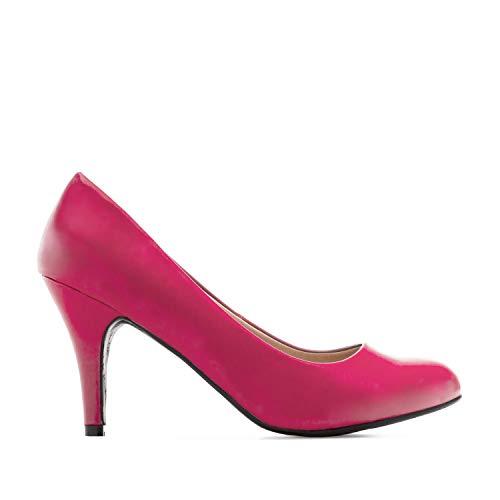 Andres Machado - Zapatos de tacón para Mujer - Tacon de Aguja - ESAM422 - Hora Estilo Retro - Tallas pequeñas, Medianas y Grandes - sin Cordones - Zapato de tacón Soft Fucsia. EU 41