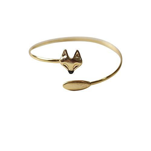 beadsnice Manschette Armband Initial Bangle Fuchs Verstellbaren Armreif Gold, Silber Überzogene Geschenk für Kinder, Jugendliche