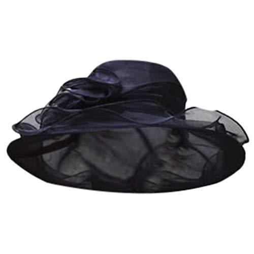 VJGOAL Cappello da Donna, Elegante Lace Tesa Larga Cappello di Chiffon,Leggero Cappello da Sole Estate con Visiera Cerimonia Matrimonio Chiesa