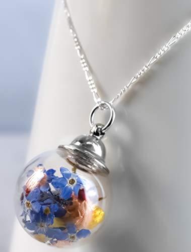 Anhänger Vergissmeinnicht mit Yasminblüte - Kette Silber 925 Sterling 60cm - Naturschmuck Blüten Bouquet