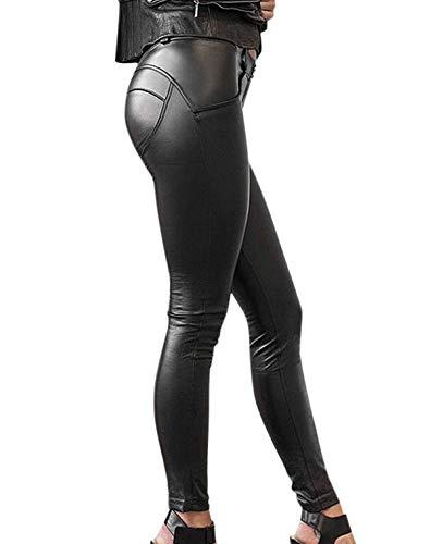 Gutsbox Damen Strumpfhosen Sexy Lederhose Stretch Skinny Leggings PU Kunstleder Hose (Schwarz, 3XL)