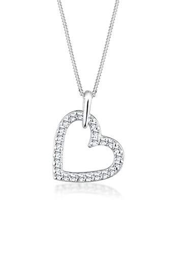 Elli Halskette Damen Herz Anhänger mit Swarovski® Kristalle in 925 Sterling Silber