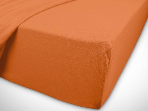 npluseins klassisches Jersey Spannbetttuch – erhältlich in 34 modernen Farben und 6 verschiedenen Größen – 100% Baumwolle, 70 x 140 cm, terrakotta - 7