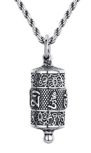 XIRENZHANG 925 Collar de Plata esterlina Lotus Lotus Collar de Mantra de Seis Caracteres Película de Amuleto de los Hombres Colgante del Encanto de la Paz, para Hombres y Mujer 55cm