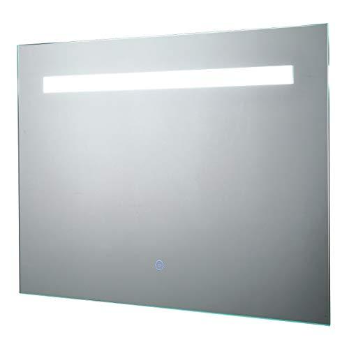kleankin LED-Spiegel 70 x 50 cm, Wandspiegel, Badspiegel mit Touch-Schalter, Anti-Beschlag, Alu, Silber, Energieklasse A++