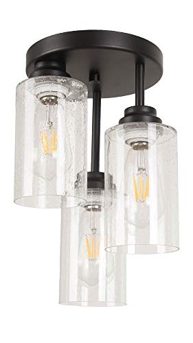 Houzlamod 3-Light Semi-Flush Mount Ceiling Light with Seeded Glass
