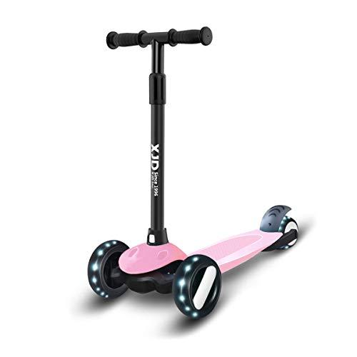 XJD Kinderscooter Kinderroller mit 3 LED Rädern Kickboard für Mädchen Junge 2-8 Jahre Sperrbare Richtung Verstellbare Lenkerhöhe Leicht Belastbarkeit bis 50 kg