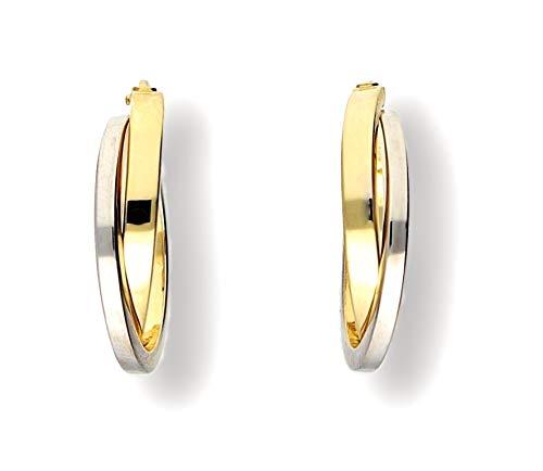 EDLE 585 Gold CREOLEN, 585 Gelb-Weißgold, GOLDOHRRINGE 14 Karat, 21,5mm LANG