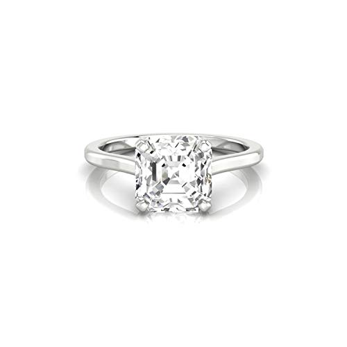 Diamondrensu Anillo de compromiso de moissanita de corte Asscher de 1,14 quilates, increíble anillo de boda de Asccher solitario para mujer, anillo de ajuste catedral, plata 925, tamaño de anillo 7 US