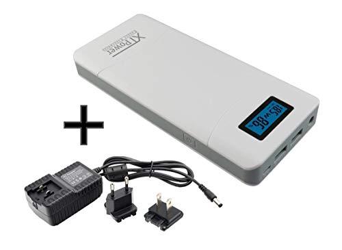 XTPower® XT-16000QC3-PA Powerbank inkl. Netzteil - moderner DC + USB QC3 Akku mit 15600mAh - 1x USB, 1x USB QC3 und DC Anschluss von 12 bis 24V 65W - für Laptop Tablet iPhone Galaxy