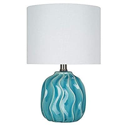 """Catalina Lighting 22145-000 Transitional Textured Ceramic Accent Table Lamp with Linen Shade, 15.25"""", Teal Blue"""