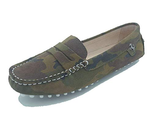 MINITOO Loafer e Mocassini Donna Verde Militare Casual Estate Scarpe Mocassino YB9603 EU 37