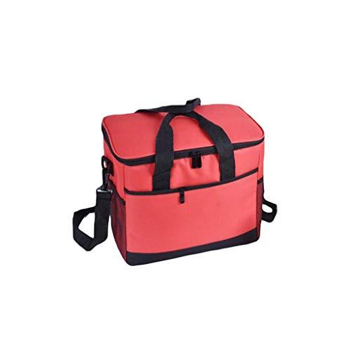 Sac d'isolation 17L, Portable imperméable de Pique-Nique isolé Panier de Pique-Nique, Grand déjeuner Portable Boîte de Refroidisseur d'enfoueur (Color : Red, Taille : 31.5 * 19 * 28cm)