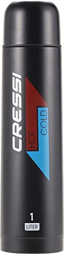 Cressi Stainless Steel Thermal Flask, Borraccia Sportiva Termica in Acciaio Inox Unisex Adulto, Nero, 1 l