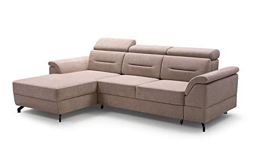 MOEBLO Ecksofa mit Schlaffunktion mit Bettkasten Sofa Couch L-Form Polstergarnitur Wohnlandschaft Polstersofa mit Ottomane Couchgranitur - Lucia (Cappuccino, Ecksofa Links)