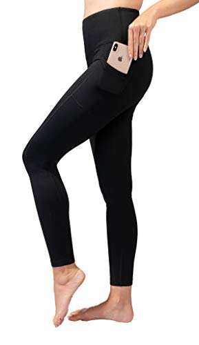 90 Degree By Reflex High Waist Fleece Lined Leggings with Side Pocket - Yoga Pants - Black with Pocket - Medium