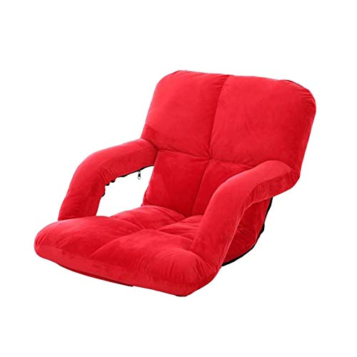 WSDSX Chairs Floor Chair Recliner Armchair Lounge Sofa Bed Folding Adjustable Floor Lounger Sleeper Futon Mattress Seat Chair (Color : Big Red)