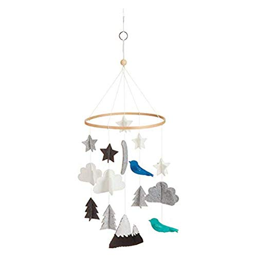 Iwinna Baby Wind Chime-Baby Crib Mobile Stars Clouds Birds Baby Ceiling Hanging Nursery Decor