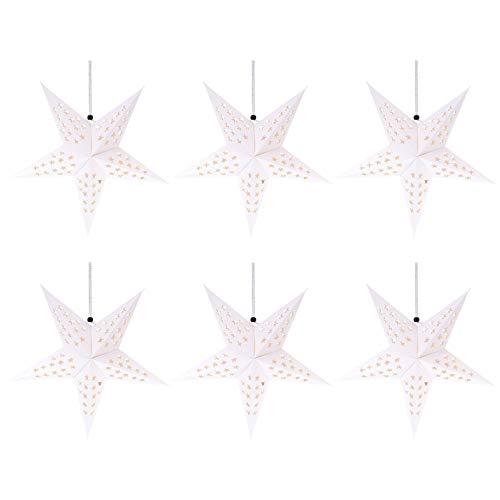 Uonlytech 10 Stücke Papierstern Lampe Papier Weihnachtssterne mit Beleuchtung 3D Leuchtstern Fensterdeko Stern Weihnachten Beleuchtet Weihnachtsbeleuchtung für Weihnachtsbaum Deko