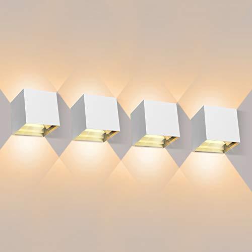 4 Pcs Apliques Pared LED 3000K 1000LM, Lámpara de Pared Interior, Apliques Pared Exterior Impermeable IP65, Aplique de Pared Moderna de Angulo de Haz Ajustable
