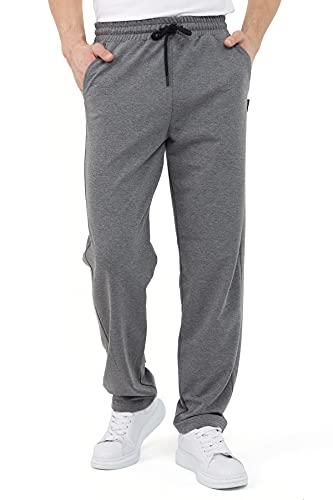 COMEOR Pantalones de chándal para hombre en algodón, pantalones largos de deporte para hombre, pantalones de chándal para hombre, gris oscuro, XXXL