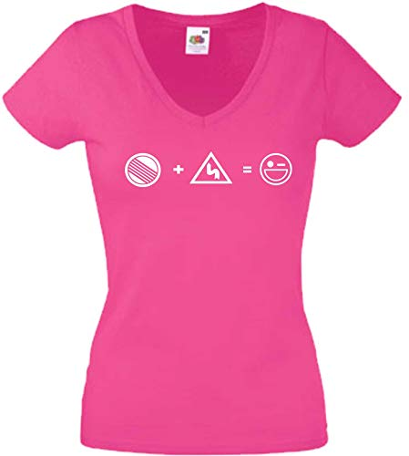 JINTORA T-Shirt - Chemise Femme Rose - V-Cou - Taille S - Curves Freak - Pas de Limite - Speed Junkie - JDM/La Coupe - pour la fête Carnaval Travail et Loisirs