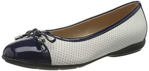 Geox Damen D ANNYTAH C Geschlossene Ballerinas, Weiß (White/Blue C0006), 39 EU