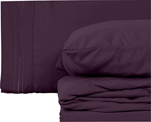 Style Basics Super Soft Brushed Microfiber Bed Sheet Set - 1800 Series Easy-Clean (Purple, Queen)