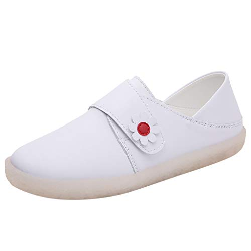 Best Price! Buolo Women Flats Shoes White Nurse's Hook Loop Hospital Work Shoes Ladies Non-Slip Ligh...