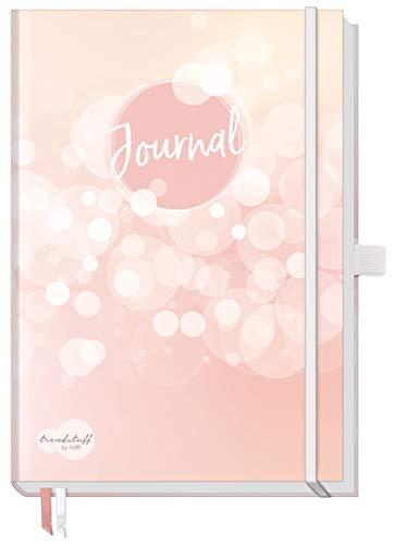Trendstuff Premium Bullet Journal dotted, Notizbuch A5 gepunktet [Dreamy] Tagebuch mit Punkteraster, Gummiband & Stifthalter | robust, biegsam, abwischbares Cover + extra dickes Papier