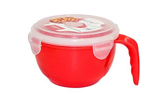 Mikrowellenbecher 710 ml, Mikrowellengeschirr oder Mikrowellen-Nudelkocher 940 ml, mit Klickverschluss und Dampfablaßverschluß (Nudelkocher rot)