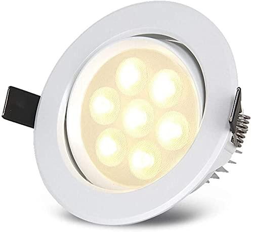 DFGBXCAW Lámpara de Techo LED empotrada 12W Foco de iluminación Aluminio Fundido a presión Recorte Redondo 110-125mm Downlights Inclinación Ajustable 120 Ángulo de Haz 3000k 4000