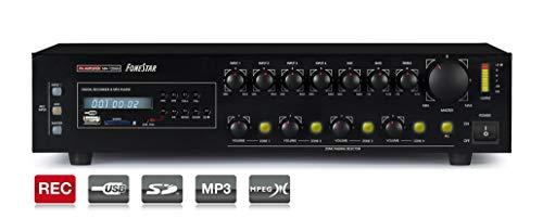 AMPLIFICADOR FONESTAR MA-125GU 4x120W-MAX 100V/8-OHMS 24VCC/230VCA USB/SD/MP3/REC