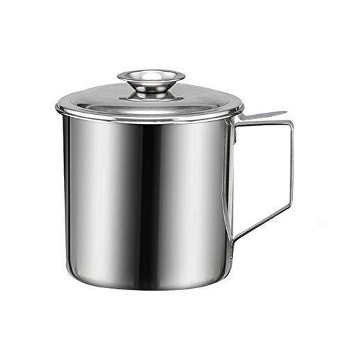 NNDQ Recipiente de Acero Inoxidable para latas de Almacenamiento de Aceite con colador de Malla Fina, Tapa a Prueba de Polvo, Mango de fácil Agarre, para cocinar en la Cocina