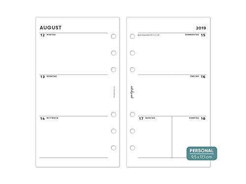 pen & pages® 2020 Calendario – simple – personal – 6 agujeros – organizador personal A6, 1 semana en 2 páginas, enero hasta diciembre, 9,5 x 17,1 cm