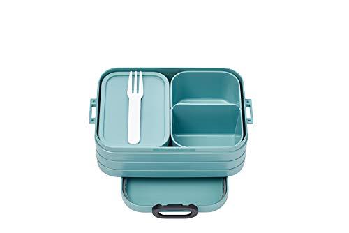 Mepal Bento-Lunchbox Take A Break Nordic Green midi – Brotdose mit Fächern, geeignet für bis zu 4 Butterbrote, TPE/pp/abs, Grün, 0 mm