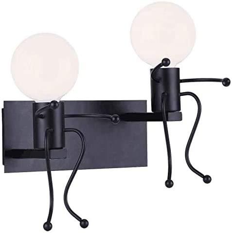FSTH Lámparas de Pared de Creativas Escalonadas Personas Individuales Lámparas de Pared Dormitorio Sala de Moderna Lámparas de Cabecera de Metal Regalo de Pared Iluminación E27 (Negro-2)