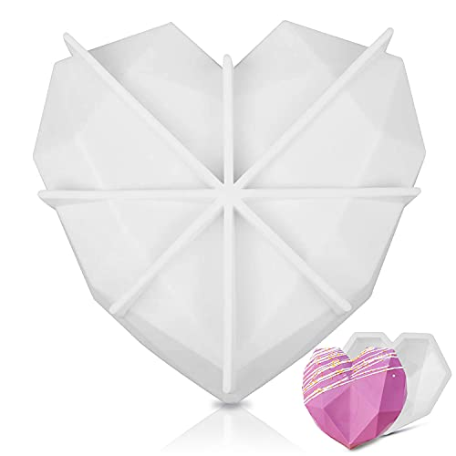 Diamond Heart Love Shape Silicone Cake Mold - Oven Safe Chocolate Mousse Dessert Baking Non-stick Pan 3D For Mousse, Chocolate Brownie, Cheesecake, Jelly, Ice Cream, Fondant - DIY Dessert Tools